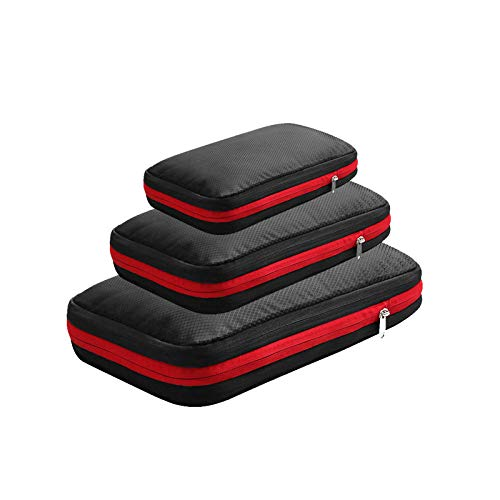 Compression Packing Cubes Bags,3-piece travel compressible large-capacity storage bag-black,Packing Cubes Suitcase Organiser Packing Bags