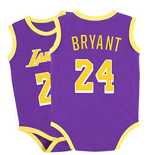Bryant Lakers #24 Bodys Fans ärmellos Basketball Trikots für Baby Junge Mädchen Jumpsuit Spielanzug Strampler Sportbekleidung Lila 73 cm