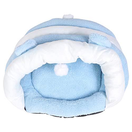Pssopp Gato Perro Cueva Cama Mascotas Saco de Dormir Suave Coral Fleece Casa de Mascotas Zapatilla cálida Cachorro Gatito Nido de Calentamiento Perrera Nido de Felpa Triángulo de Mascotas (S)