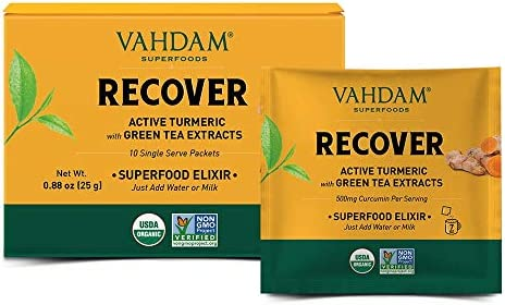Organic Recovery Drink Instant Mix 10 Serves 1 8oz I Turmeric Ashwagandha Green Tea Extracts product image