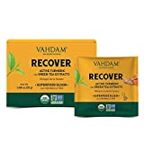 Organic Recovery Drink Instant Mix - 10 Serves/1.8oz I Turmeric + Ashwagandha + Green Tea Extracts + Matcha | Improves Overall Health & Relieves Stress | USDA Organic, Non-GMO I Vegan & Keto-Friendly