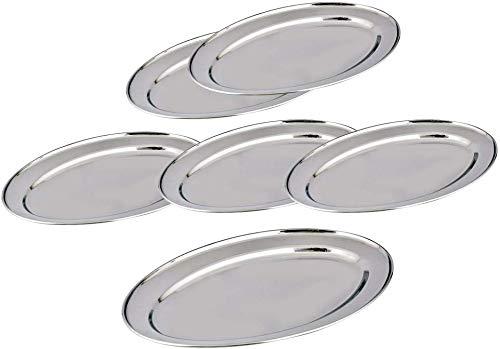 Juego de 6 platos de acero inoxidable multiusos de 25 cm con forma ovalada para servir, con acabado de espejo y acabado pulido