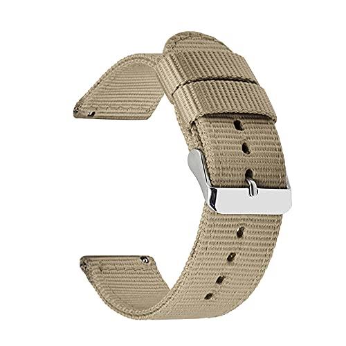 Correas De Reloj De Nylon 18 mm 20 mm 22 mm 24 mm Nylon Lienzo de la Correa Reloj de Reloj de Reloj 42mm 46mm Banda de Pulsera Correa Reloj (Band Color : Khaki)