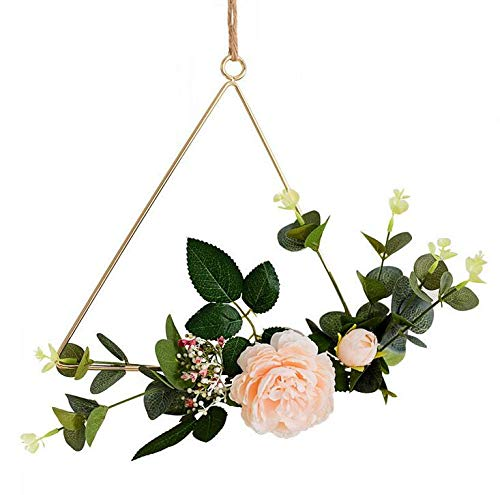 SHANGHh Artificial Rose Flower and Eucalyptus Greenery Leaves Floral Hoop Wreath Set fit for Hanging Wall Decor for Bedroom,Hanging Wall Hoop Garland Wedding,Christmas Decoration DIY (Triangle)