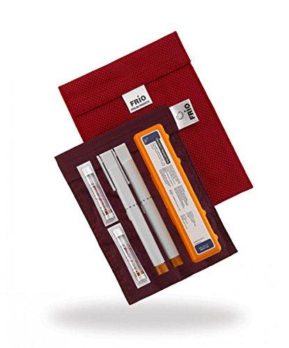 FRIO Kühltasche für Insulin, 14 x 19cm, rot - KEIN Eispack oder Batterien nötig, für bis zu 4 Insulinpens in Standardgröße ODER eine Kombinationen von Pens, Ampullen oder Patronen ODER 3 Epi Pens