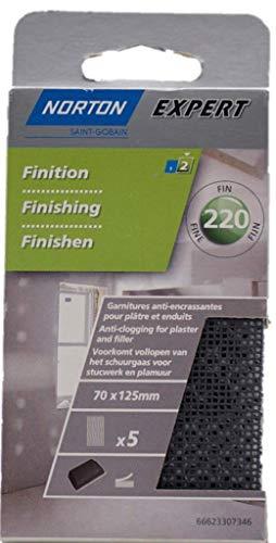 Norton Sandpapier/Schleifpapier für Gips/Putz, 70mm x 125mm, Körnung 220, 5 Stück