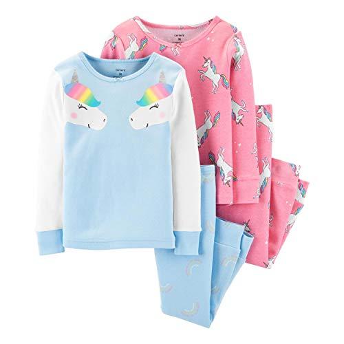 Carter's Toddler and Baby Girls' 4 Piece Cotton Pajama Set, Rainbow Unicorn, 4T