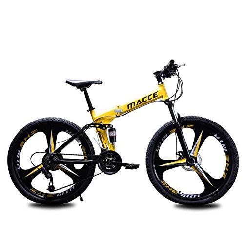 B-D Bicicletas Plegables Estudiante Unisex Bicicleta de Montaña Plegable, Marco de Acero de Alto Carbono, 21 Velocidades, Absorción de Impacto, Sistema de Frenos de Seguridad,Amarillo,26inch