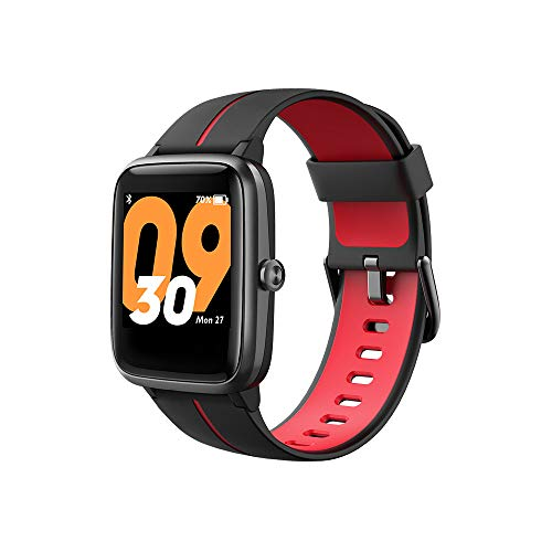 TicKasa Vibrant Fitness Smartwatch para Hombres y Mujeres con 5 ATM Resistente al Agua, Monitor de frecuencia cardíaca, Seguimiento del sueño, 10 días de duración de la batería, GPS Incorporado