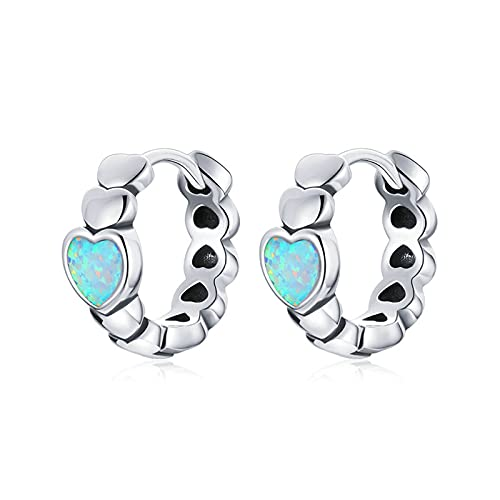 HMMJ Pendientes de aro con corazón de ópalo Azul hipoalergénico para Mujer S925 SCE1137