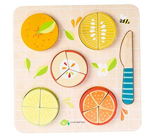 Tender Leaf Toys - Citrus Fractions - Math Learning Wooden Toys, Sorting Toys - Educational Game for 18m+