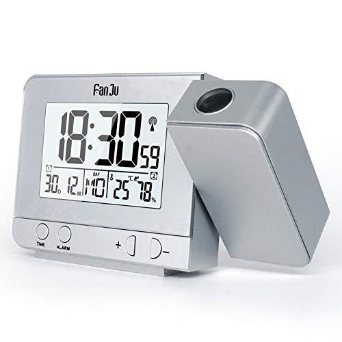IDABAY Reloj Despertador con Proyector, Giratorio Termómetro e Higrómetro Reloj Digital Multifunción con 2 Temporizador de Sueño Adecuado para Sala de Estar del Dormitorio Oficina, Carga USB