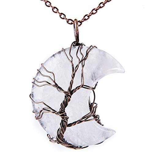 Bivei Tree of Life Crescent Moon Necklace Copper Wire Wrap Natural Gemstones Pendant Crystals and Healing Stones Necklace