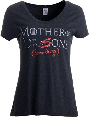 """""""Mother of Dragons - Sons (Same Thing)"""" (""""Mutter von Drachen - Söhnen (dasselbe)"""") - V-Ausschnitt - lustiges Shirt für Mütter Damen T-Shirt mit Schriftzug - S"""