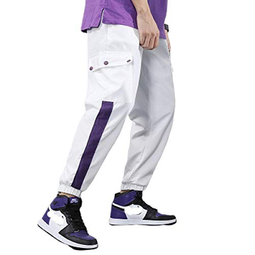 nobranded Pantalon pour Hommes Gym Workout Stripe Patchwork Jogger Pants Slim Fit Tapered Sweatpants Sportswear Bottoms
