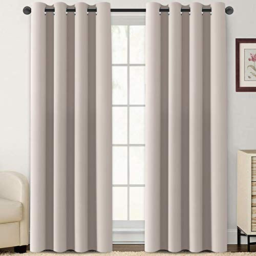 Flamingo P Blackout Curtains 108 Inch Length 2 Panles Set Thermal Insulated Light Blocking Soft Thick Grommet Curtain Drapes for Bedroom/Living Room Home Decoration Window Draperies, Natural