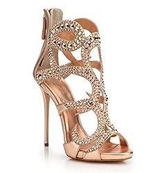 Rose Gold Metal Rhinestones Open Toe Sandals With Heels