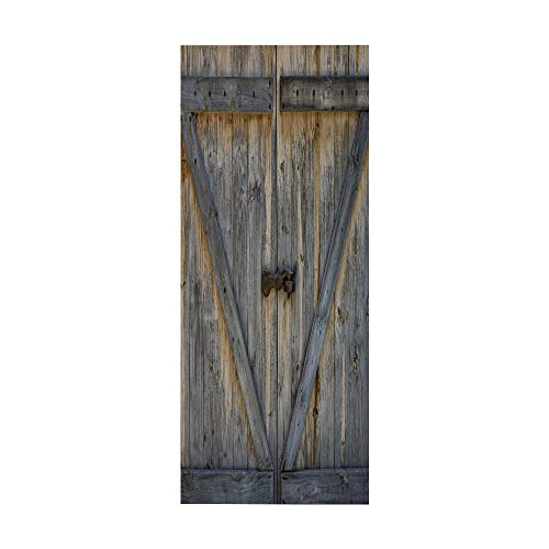 KEXIU 3D Madera vintage PVC fotografía adhesivo vinilo puerta pegatina cocina baño decoración mural 77x200cm