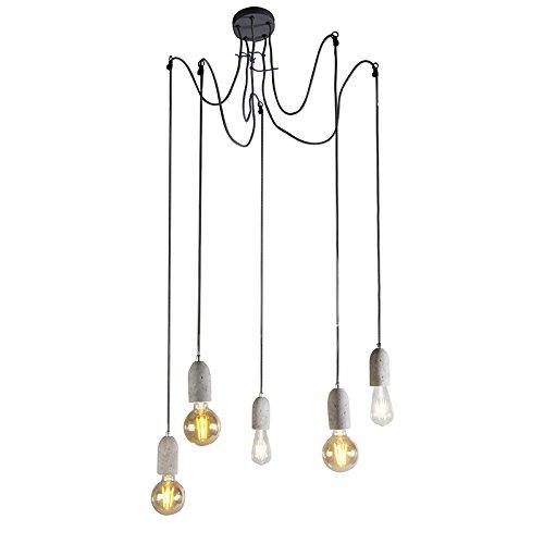 QAZQA Design/Modern Industrielle Hängelampe grau Beton - Cava 5-flammig/Innenbeleuchtung/Wohnzimmerlampe/Schlafzimmer/Küche Stein/Rund LED geeignet E27 Max. 5 x 60 Watt