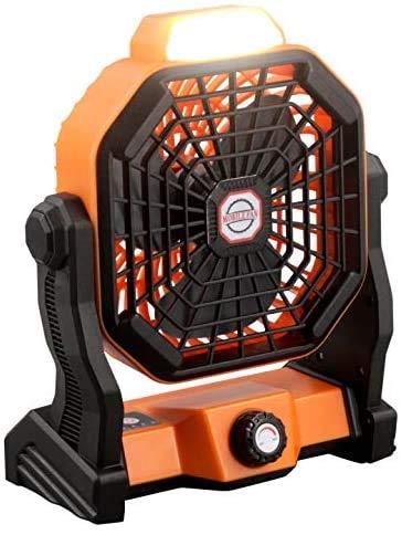 DZJ Ventilador de Escritorio Alimentado por USB, Ventilador de Linterna de Camping Recargable portátil de 7800 mAh con luz Flujo de Aire Mejorado de Velocidad Continua giratoria de 270 °