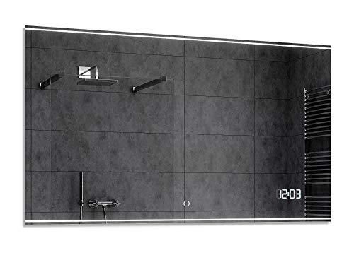 Alasta® LED Badkamerspiegel - 50x110 cm - Model Chicago - Spiegel met Aanraaklichtschakelaar en LED Klok