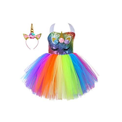 PRETYZOOM Eenhoorn kostuum voor meisjes aankleden kleding voor kleine meisjes regenboog eenhoorn Tutu jurk met hoofdband kinderen Verjaardag Party Favors Gift (S)