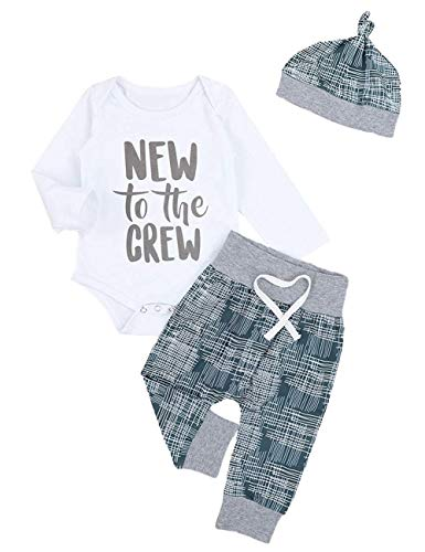 Newborn Baby Boy Clothes Crew Letter Print Romper+Long Pants+Hat 3PCS Outfits Set (0-3M)