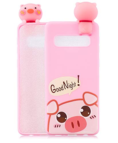 TopFunny Cases for Galaxy S10 Plus Silicone 3D Cute Cartoon Case S10+ Soft TPU Slim Fit Rubber Bumper Protective Gel Cover Shockproof Case for Samsung Galaxy S10 Plus 6.4' 2019 Print Pig