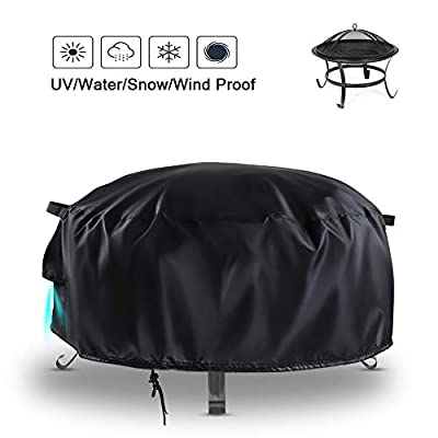 Rilime Round Patio Fire Pit Cover 92x51cm, Outdoor Heavy Duty Waterproof Fire Bowl Cover with Airvents and Drawstring from Rilime
