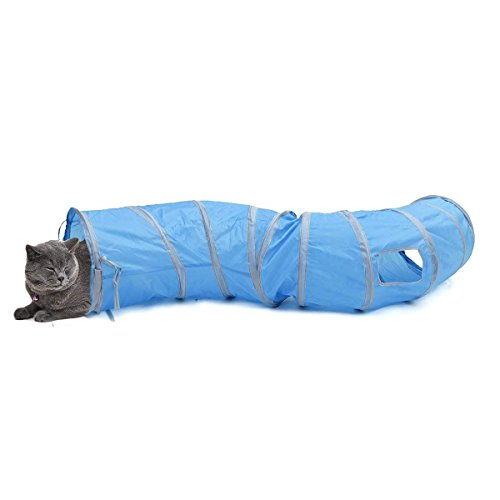 PAWZ Road Cat Toys Interactive, Collapsible Tunnel for Bunnies, Kittens, Ferrets and Small Dogs with...