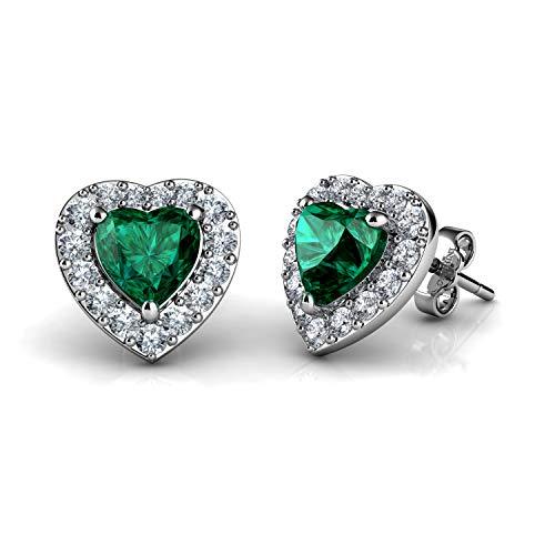 DEPHINI Pendientes de plata de ley 925 con forma de corazón verde, con colgante de cristal y piedra natal de nacimiento para mujer, chapado en rodio y circonita cúbica