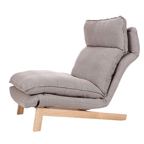 Sofa Verstelbare loungebank stoel Zes zachte geheugenschuim Home Office modern hout Lounge Chair Eén maat kaki