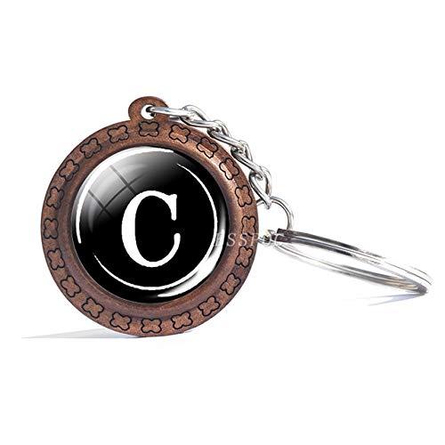 DSBN sleutelhanger 26 letters sleutelhanger gepersonaliseerd alfabet letters sleutelhanger van hout sleutelhanger team naam glas hanger sleutelhanger cadeau voor liefhebbers Al