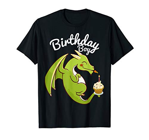 Birthday Boy Dragon Theme T-shirt Cupcake Candle Fire