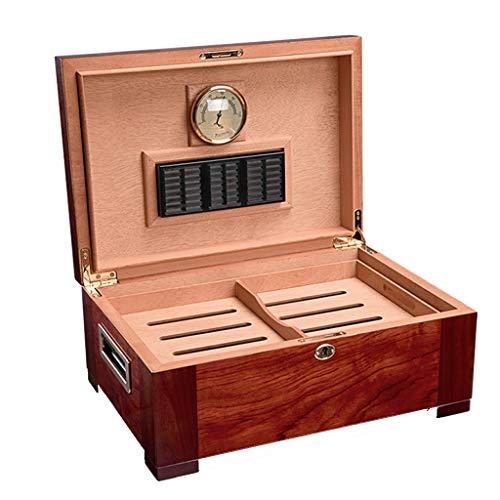 Rangements Humidors À Cigares Humidificateurs 100 En Bois De Cèdre Cigares Cubains Double Boîte À Cigares Équipé D'un Humidificateur Et D'un Hygromètre (Color : Brown, Size : 16 * 27 * 39cm)
