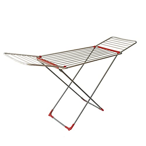 Tendedero Plegable de Suelo con alas   Superficie de tendido de 18 m   Tendedero Plegable y Antideslizante   para Interior y Exterior   55 x 170 x 104 cm (Fenix)