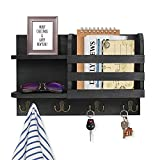 Wooden Key and Mail Holder for Wall Mounted, Rustic Mail Sorter with 4 Double Hooks, Decorative Mail and Key Organizer Rack for Wall, Key Holder with Shelf Home Decor and Storage for Entryway Hallway