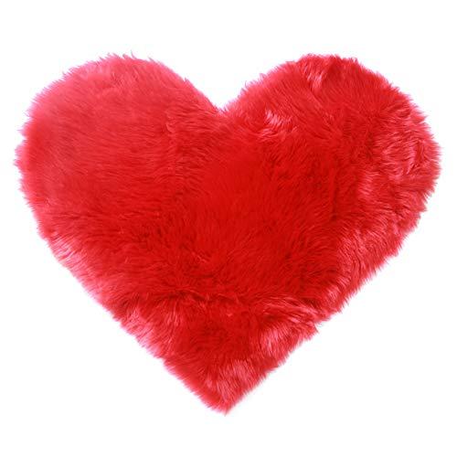 ahbreton Faux Fur Area Rug Heart Shaped Floor Mat Fluffy Living Room Rugs Soft Shaggy Bedroom Home Sofa Carpet Door Pad Plush Non Slip 70 x 90cm Red