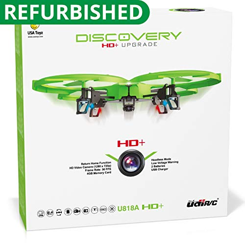 Force1 Drone with Video Camera 720p HD Camera Headless Mode 360° Flips UDI 818A HD drones for beginners Lime Green RC Quadcopter Discovery HD upgrade UdiR/C Renewed