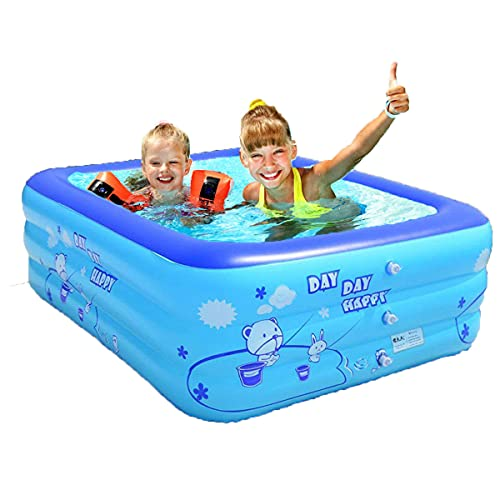 Derekey Inflatable Pool, 2021 Upgraded Family Pool, Swimming Pools for Family, T, Garden, Outdoor, Backyard, Indoor