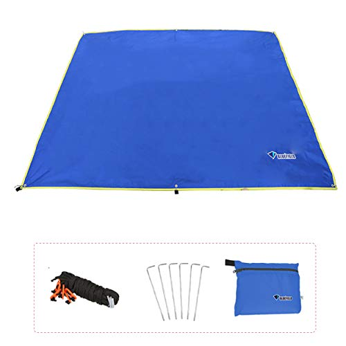 Azarxis Hammock Rain Fly Tent Tarp Ground Cloth Footprint Shelter Sunshade Beach Picnic Blanket Mat Sand Free Large for Outdoor Camping Park Lawn Grass with Stakes Rope (Blue, L - 7.87x7.22ft)