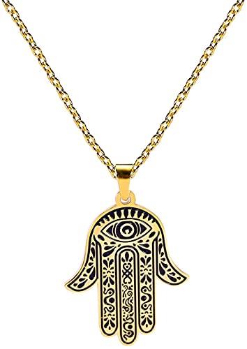 AMOZ Acero Inoxidable Hamsa Mano de Fátima Collar de Ojo Malvado Colgante Grabado Amuleto Collares Joyería de la Suerte para Hombres Mujeres Adolescentes,Oro