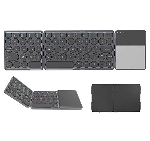 Skyshop® Round Key Foldable Bluetooth Keyboard,Dual Mode Bluetooth & USB Wired Rechargable Portable Mini BT Wireless Keyboard with Touchpad Mouse for Android TV Box, Windows, PC,Tablet,ipad,laptop, (ROUND KEY)