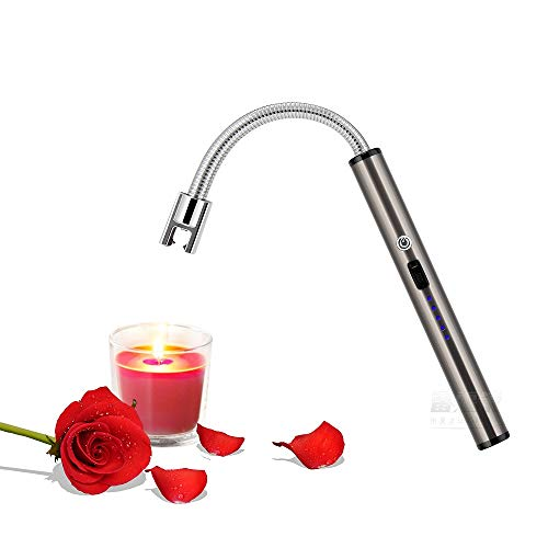 YCRX Candle Lighter, Upgrade USB Charging Arc Lighter, 360° Elastic Neck, Suitable for Lighting Candles, Gas Stoves, Camping Cooking, Barbecue Fireworks Flame