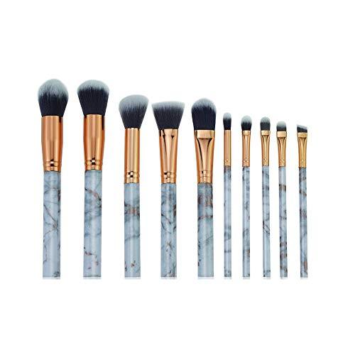 Pinceaux De Maquillage KIT, 10Pc Marbre Fard À Paupières Maquillage Brush Set Or Rosy Essentiel Maquillage Des Yeux Brosses (gris)