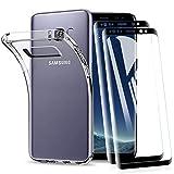 KEEPXYZ Funda para Samsung Galaxy S8 + 2 Pcs Protector de Pantalla para Galaxy S8 Cristal Templado, Flexible Suave Silicona Transparente TPU Antigolpes Carcasa + Vidrio Templado para Samsung Galaxy S8