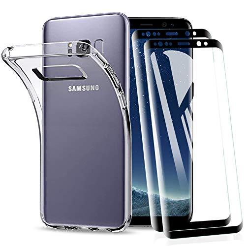 KEEPXYZ Cover per Samsung Galaxy S8 con Vetro Temperato Pellicola Protettiva, Antiurto Morbido Silicone TPU Trasparente Bumper Custodia + 2 Pezzi Proteggi Schermo per Samsung Galaxy S8