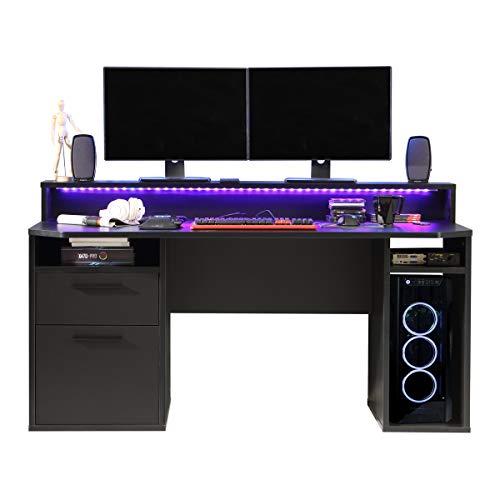 RestRelax - Warrior Gaming Desk UK's #1 Gaming Desk With LED Lights 160CM x 91CM x 72CM Computer Desk Workstation For Large PC Gaming Desk Or Home Office Desk Perfect Black Desk With Drawers & Storage