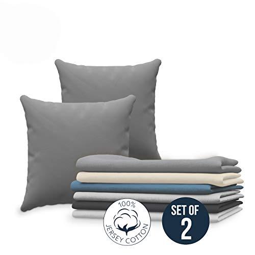 Dreamzie Set da 2 x Federa Cuscino 60x60 cm, Anthracite Cotone, 100% Jersey di Cotone - Federa da Cuscino 60x60 - Copri Cuscino per Letto - Fodera Protezione per Cuscino