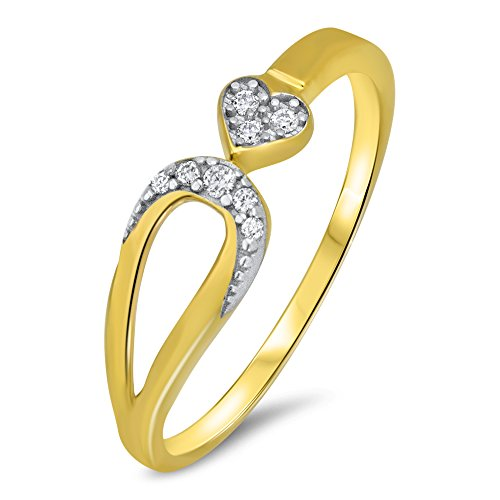 Goldring Herz - Ring - Gold 585 Gelbgold 14K Herzen Bandring Damen Verlobung Gr 48 bis 62 Band Weiß Zirkonia (52 (16.6))